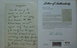 John F Kennedy Owned Handwritten Not Signed Re Federal Government Relief Psa