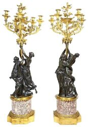 A very impressive pair of 19th century Classical Bronze & ormolu Candelabra 50