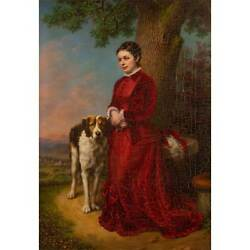 P. HEINRICH Portrait of a young woman in a red dress
