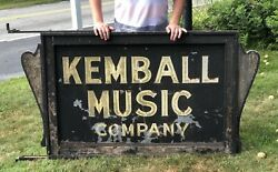 Incredible Pre Wwii Kemball Music Store Trade Sign Smaltz Paint Portland Maine