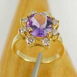 2.60 Carat Oval Amethyst And Diamonds Halo Ring Genuine 750 18k 18ct Yellow Gold
