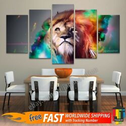 5 Pieces Wall Art Canvas Print Decor Colorful Lion Forest Animal Wildlife Poster
