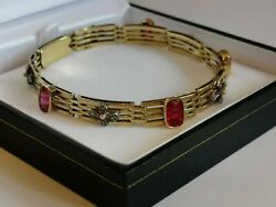 Diamond And Synthetic Red Ruby 18ct 750 Yellow Gold Bracelet 7.5 7mm 4 Bar Links