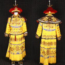 Very Rare Qing Dynasty Embroidery Emperor Dragon Robe Cloth And Crown