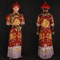 China Qing Dynasty Embroidery Emperor Dragon Military Uniform Cloth Hat Set