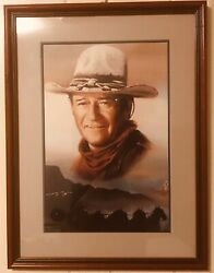 John Wayne Professionally Framed Art Andldquo Wagon Train Andrdquo Rare
