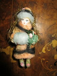 Antique Cotton Christmas Tree Ornament/tinsel/porcelain Head -germany