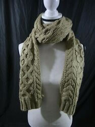 Michael Kors Womens Camel Brown Cable Muffler Long Knit Winter Scarf - NWT