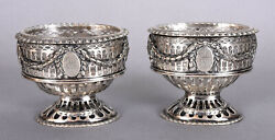 Antique Pair Neoclassical Reticulated Silver Master Salt Cellars Glass Liners
