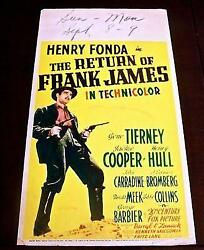 Reduced 50 Return Of Frank James '40 Mwc Fonda And Tierney Directed Fritz Lang