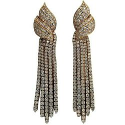 Long Hanging Gold and Diamond Earrings
