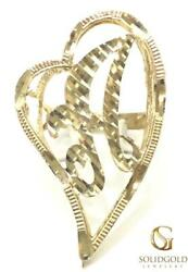New Ladies 10k Yellow Gold 38 Mm Long Cursive Initial Heart Ring 10kt Ring I-10