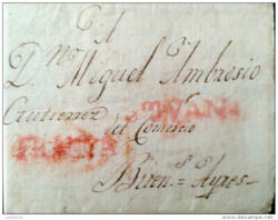 O 1815 Chile, Stampless Mark,san Juan- And Franca In Red To Buenos Aires Argent