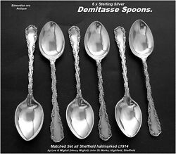 Antique Demitasse Spoons X6 Sterling Silver Hm C1914 Lee And Wigfull Edwardian