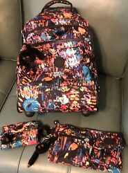 NEW Kipling Wheeled Backpack Matching Fanny Waist Pack & Wallet Set Lot Of 3