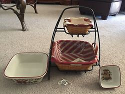Longaberger Wrought Iron Stand Silver Bells Tinsel Basket And Bowls Complete Set