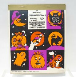 Vtg 1970's Hallmark Halloween Seals Stickers Booklet Some Used 23 Piece Made Usa