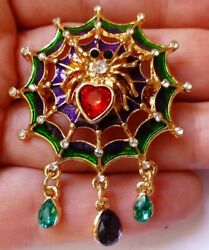 Rhinestone and Enamel Crystal Spider Web Dangle Brooch Pin