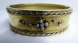 Antique Victorian 14 Ct Gold Hinged Bracelet Opal And Seed Pearl Set Wide Band