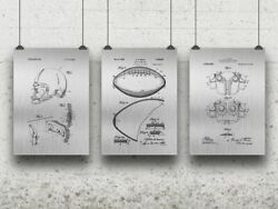 Football Posters Set Of 3 Football Player Gift Coaches Office Vintage Sports
