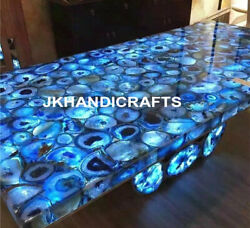 36 X 24 Marble Side Coffee Table Top Agate Inlaid Led Table Christmas Decor