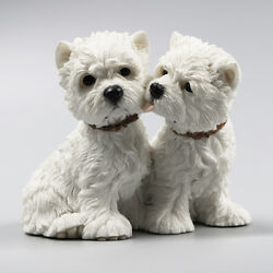 Resin MINI West Highland White Terrier Lovers Dog Hand Painted model Statue
