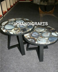 Marble Coffee Table Top Gemstone Agate Luxury Christmas Gifts Set Of 2 Pcs 24