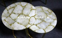 Set Of 2 Pcs 24 Marble Coffee Side Table Top Agate Stone Inlay Christmas Gifts