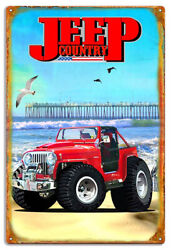 Extra Large Jeep Country Metal Jeepsters Sign By Phil Hamilton 18x30 Rvg1490xl