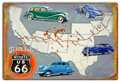 Xl Route 66 Get Your Kicks On Map Metal Sign By Phil Hamilton 18x30 Rvg1498xl