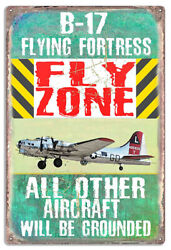 Extra Large P-17 Flying Fortress Fly Zone By Phil Hamilton 18x30 Metal Sign