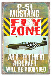 Extra Large P-51 Flying Fortress Fly Zone By Phil Hamilton Metal Sign