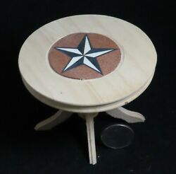Table Texas Star Inlay Inlaid Unfinished 112 Dollhouse Miniature Kitchen Dining