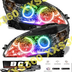 Oracle Halo 2x Headlights Black Mercedes C-class 08-11 Colorshift Bc1 Bluetooth