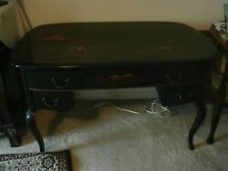 Rare Antique Chinese Desk With Gorgeous Inlaid Painting On Top And The Side