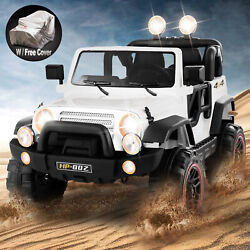 12V White Kids Ride on Car Truck Toys Electric 3 Speeds MP3 LED w RemoteCover