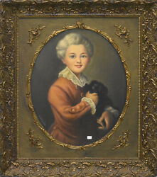 Top Antique French 1900 Oil Canvas Painting Child With Dog Portrait Signed
