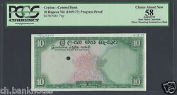 Ceylon 10 Rupees Nd 1969-77 P74p Specimen Proof About Uncirculated