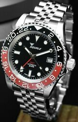 New Squale 1545 30 Atmos Blue/red Pepsi Vintage Gmt Ceramica Watch Warranty
