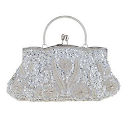 Beaded Sequins Sparkle Evening Handbag Wedding Party Prom Women#x27;s Silver Clutch $49.99