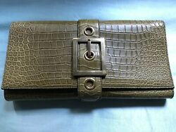 Gucci Croco Retro Buckle Clutch Classic Olive NEW with Tags