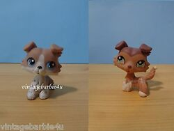 Littlest Pet Shop LPS #67 #1330 Collie Grey White Mocha Puppy Dog Lot