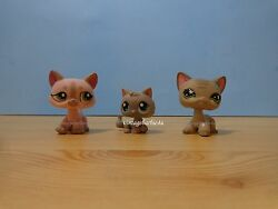 Littlest Pet Shop LPS 66 120 483 1326 Short Hair Cat Lot Grey Striped Pink RARE
