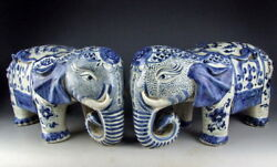 Pair of Chinese Antique Blue&White Porcelain Elephant Statues with Flower Deco