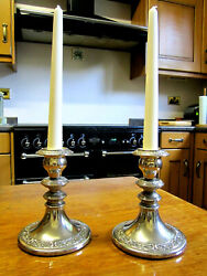 Old Pair Antique Edwardian Style Silver Plated Omerod Candlesticks C1970