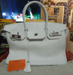 Hermes White Tote Pocketbook with COA