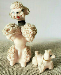 Two 2 Antique/vintage, Pink, Mama And Puppy, 'spaghetti' Poodle Dog Figurines