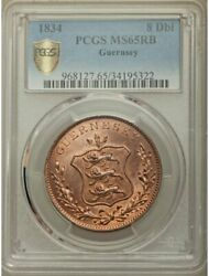 Isle Of Guernsey 8 Doubles 1834 Pcgs Ms65 Red Brown - Collectible Series