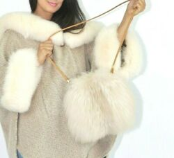 DESIGNER MADE IN FRANCE SHADOW FOX FUR BEIGE CREAM BAG PURSE