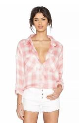 THE LAUNDRY ROOM THOREAU SPLIT BACK BUTTON DOWN SHIRT SHELL PLAID $128 Sz S $19.00